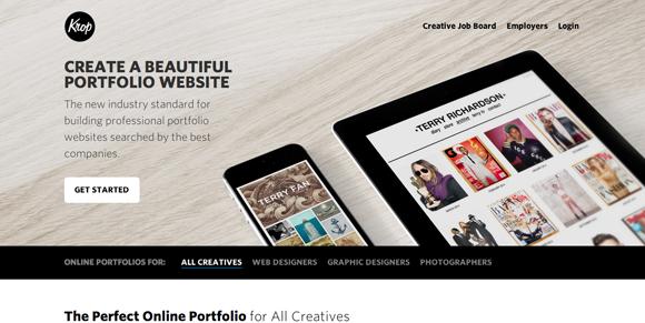 Sites para fazer portfolio online - Krop
