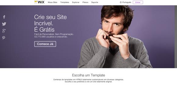Sites para fazer portfolio online - Wix