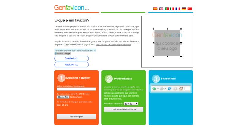 Des1gnON - 10 Sites para Criar um Favicon - Genfavicon